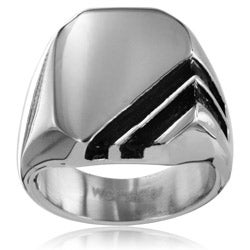 Stainless Steel Men's Stripe Signet Ring