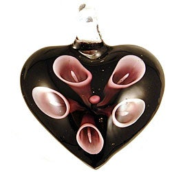 Murano Inspired Glass Black and Light Purple Lily Heart Pendant