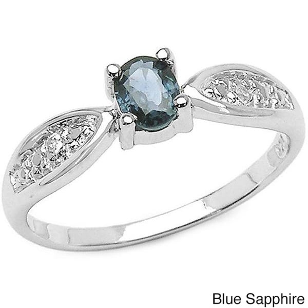 Malaika Sterling Silver Sapphire and White Topaz Ring