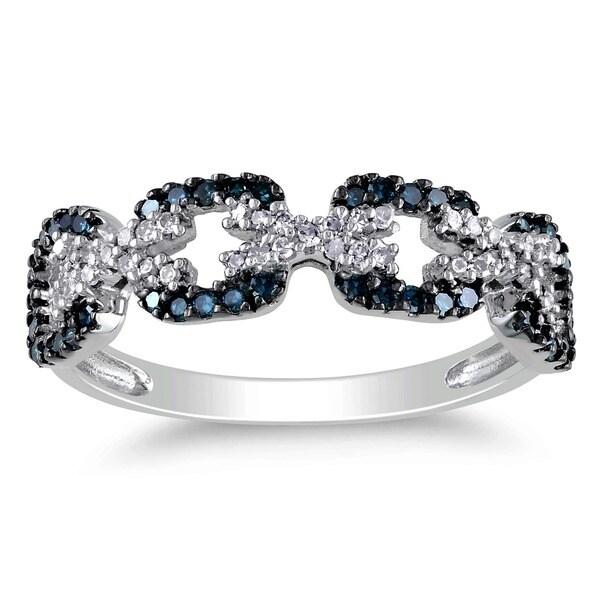 Miadora 10k White Gold 3/8ct TDW Blue and White Diamond Ring (G-H, I2-I3)