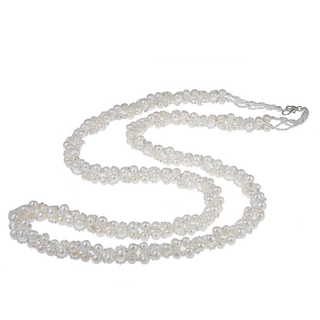 Sterling Silver 36-inch White Freshwater Twisted Pearl Strand (5-6 mm)