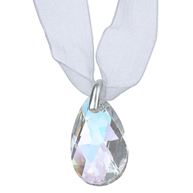 Crystale White Crystal Ribbon Fashion Necklace