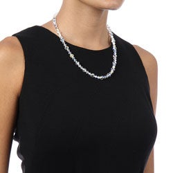 Crystale Silvertone Crystal Glass Bead Necklace - Thumbnail 2