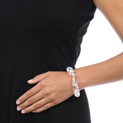 Crystale Crystal and Glass Bead Stretch Bracelet - Thumbnail 2