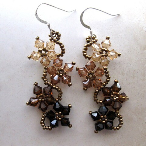 Handmade Sterling Silver Brown Crystal Flower Earrings (USA)