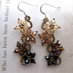 Sterling Silver Brown Crystal Flower Earrings