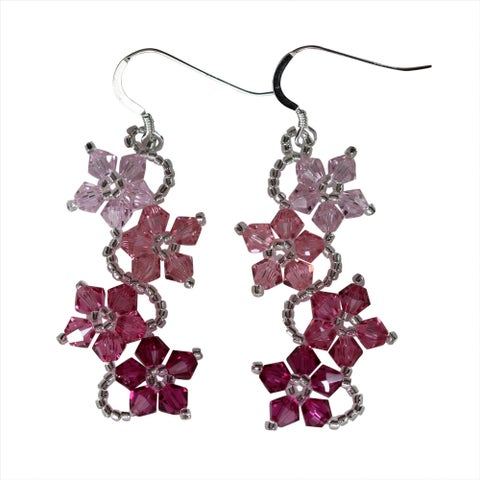 Handmade Sterling Silver Colorful Crystal Flower Earrings (USA)