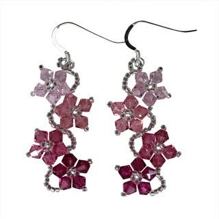 Handmade Sterling Silver Colorful Crystal Flower Earrings (USA)