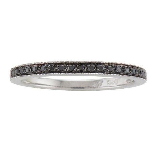 Unending Love Sterling Silver 1/10ct TDW Black Diamond Ring - Thumbnail 0