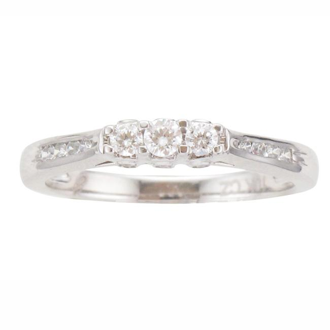 Unending Love 10k White Gold 1/4ct TDW Diamond 3-stone Ring (I-J, I2-I3) - Thumbnail 0