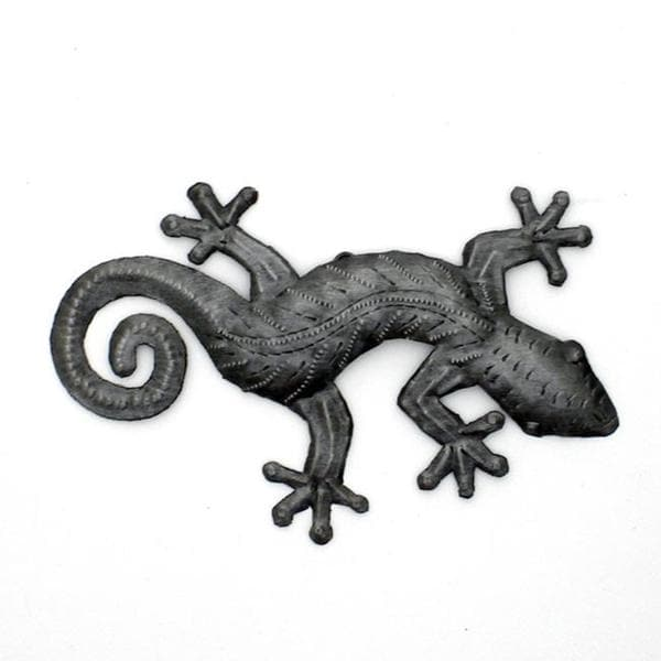 Recycled Oil Drum Natural 8-inch Gecko Wall Art  , Handmade in Haiti