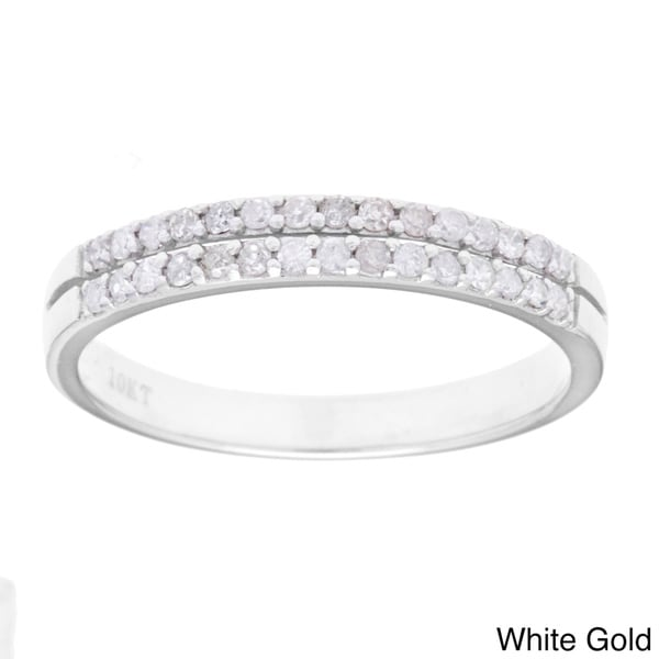 10k Gold 1/4ct TDW Double Row Diamond Wedding Band