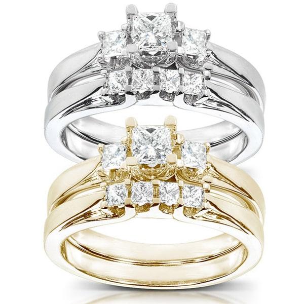 Annello 14k Gold 1/2 ct TDW Princess-Cut Diamond Bridal Ring Set (HI, I1-I2)