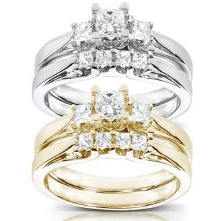 Annello by Kobelli 14k Gold 1/2 ct TDW Princess-Cut Diamond Bridal Ring Set (HI, I1-I2)