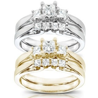 Annello by Kobelli 14k Gold 1/2 ct TDW Princess-Cut Diamond Bridal Ring Set (HI, I1-I2)