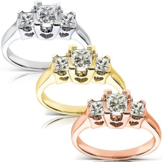 Annello by Kobelli 14k Gold 3/4ct TDW Princess Diamond Three Stone Ring With Hearts (H-I,