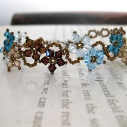Stainless Steel Delicate Blues and Browns Flower Crystal Bracelet