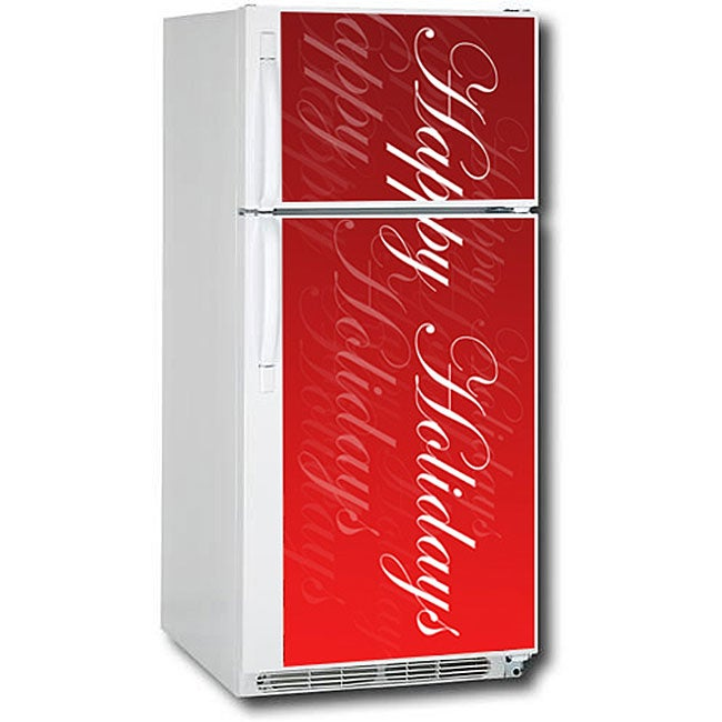 Appliance Art Happy Holidays Script Refrigerator Cover