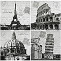Handmade Iconic Europe Canvas Wall Hanging, Set of 4