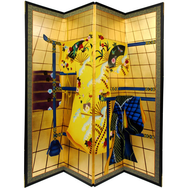 Handmade Silk and Wood Gold Leaf Kimono Room Divider (China)