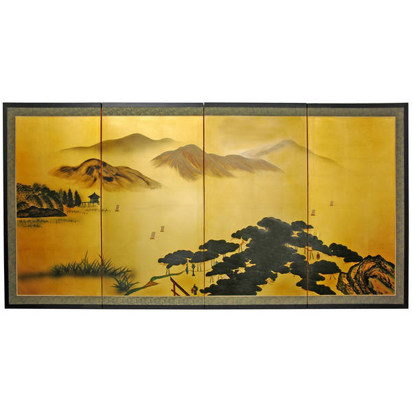 Silk and Wood White Mountain Room Divider (China)