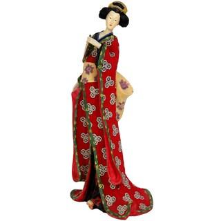 Handmade Resin Red Kimono and Lavender Flowers 18-inch Geisha Figurine (China)