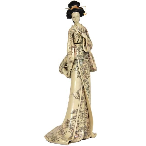 Resin 18-inch Flower Vine Kimono Geisha Figurine (China)