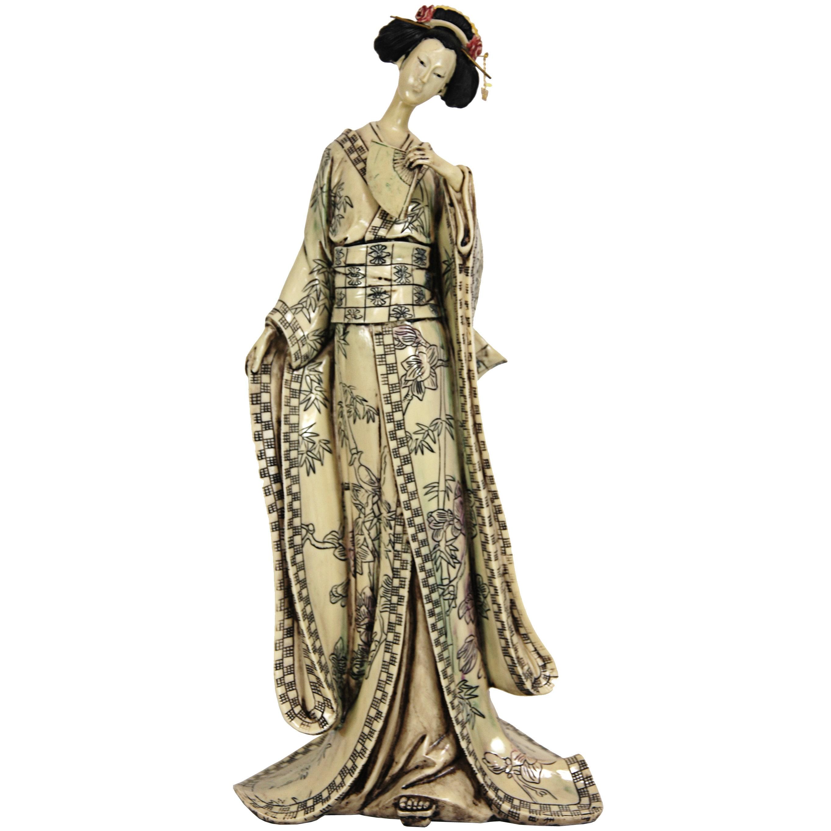 Shop Resin 18 Inch Bamboo Tree Kimono Geisha Figurine China Overstock 5306236