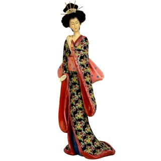 Handmade Resin 14-inch Pastel Sash Geisha Figurine (China)