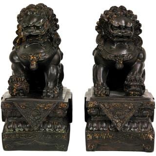 "Handmade 9"" Resin Foo Dog Statues, Set of 2"