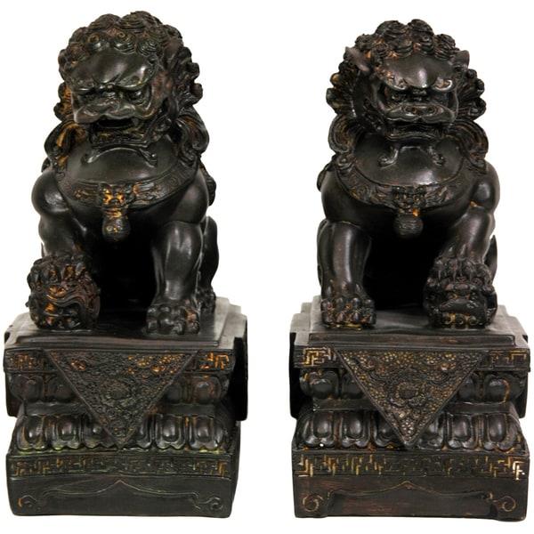 Handmade Set of 2 Resin 9-inch Foo Dog Statues (China)