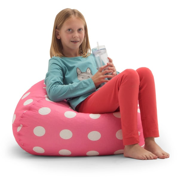 BeanSack Polka Dot Pink Bean Bag Chair