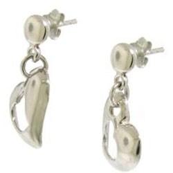 Sterling Silver Double Heart Dangle Earrings