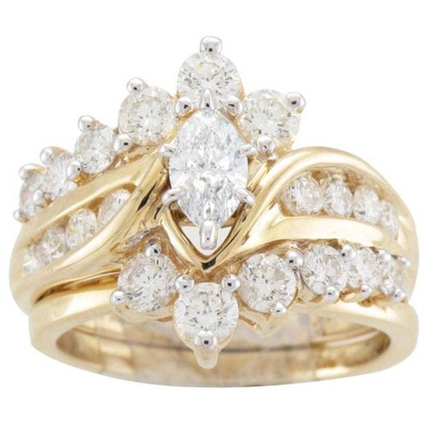 14k Yellow Gold 2ct TDW Diamond Bridal Ring Set Free Shipping