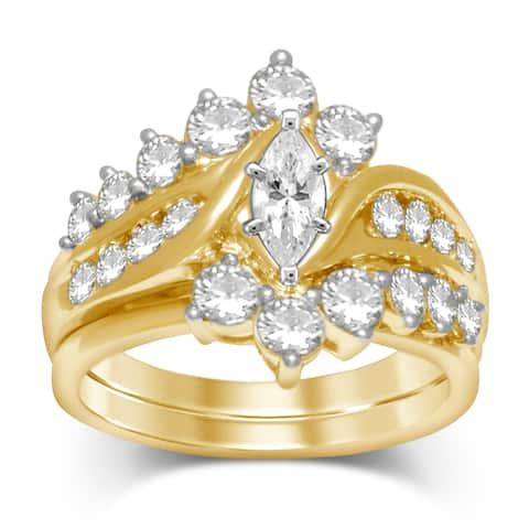 14k Yellow Gold 2ct TDW Diamond Bridal Ring Set