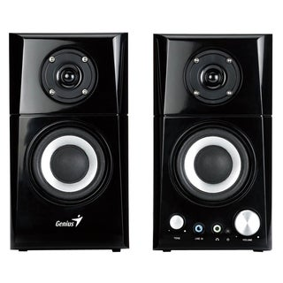 Genius SP-HF500A 2.0 Speaker System - 14 W RMS - Black, Wood