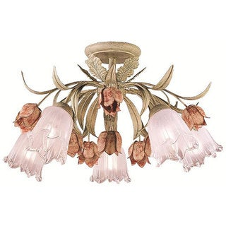 Southport 5-light Sage/ Rose Semi-Flush Mount - Sage