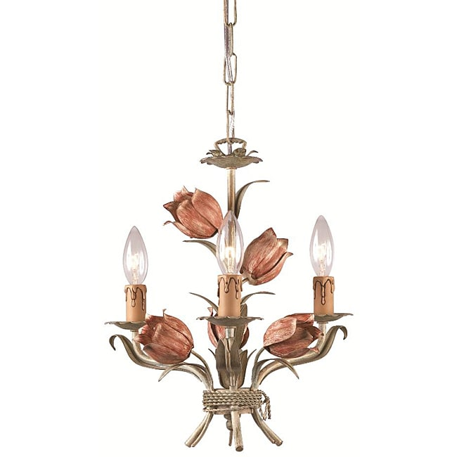 Crystorama Southport 3-light Sage/ Rose Mini Chandelier