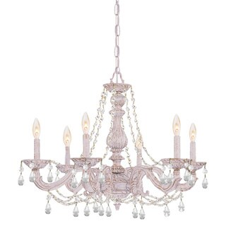 Crystorama Sutton 6-light Antique White/ Crystal Chandelier