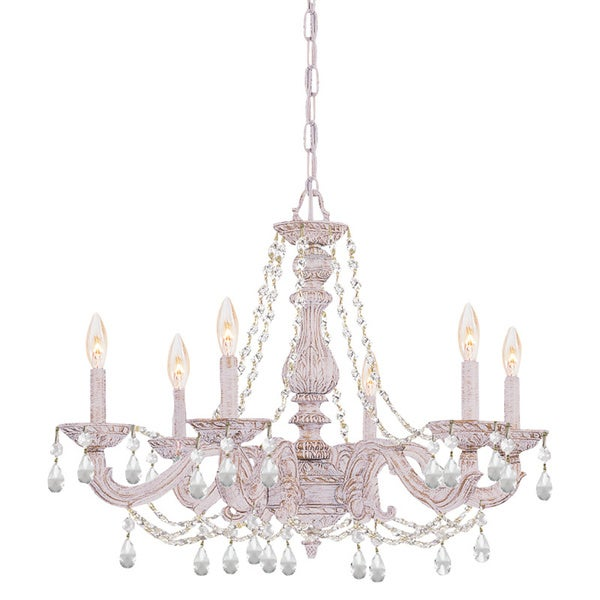 Shop crystorama sutton 6 light antique white crystal chandelier crystorama sutton 6 light antique white crystal chandelier aloadofball Images