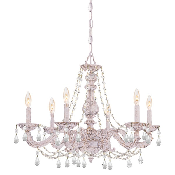 Crystorama Sutton 6-light Antique White/ Crystal Chandelier - Crystorama Sutton 6-light Antique White/ Crystal Chandelier - Free