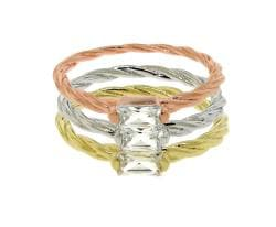 14k Gold over Sterling Silver Cubic Zirconia 3-piece Stackable Ring Set
