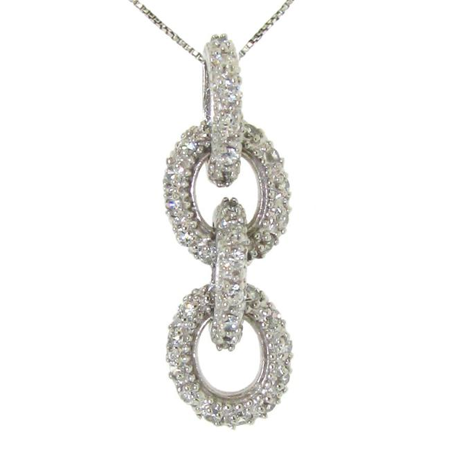 Sterling Silver Pave Cubic Zirconia Circles Necklace