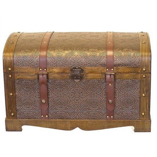 Antiqued Victorian Treasure Chest Wood Trunk - Round Top