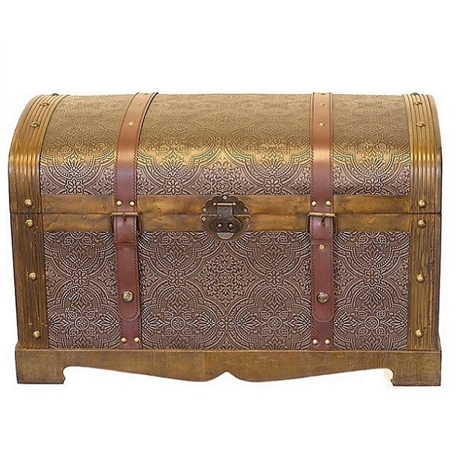 Antiqued Victorian Treasure Chest Wood Trunk - Round Top (Round Top Antique Victorian Wood Trunk Treasure Chest)