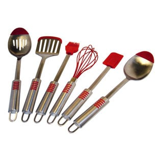"Le Chef Stainless Steel Silicone Tip 6-piece Utensil Set - 7'6"" x 9'6"""