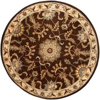 Herat Oriental Indo Hand-tufted Tibetan Brown/ Ivory Wool Rug (8' x 8')
