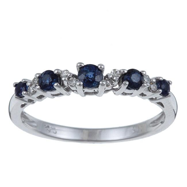 10k Gold Blue Sapphire / Diamond Accent Ring (G-H,I1-I2)