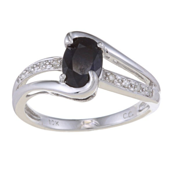 10k White Gold Blue Sapphire and Diamond Ring (G-H,I1-I2)