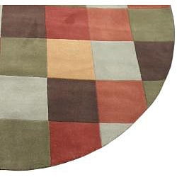 Indo Hand-Tufted Multi-color Wool Rug (8' Round) - Thumbnail 2
